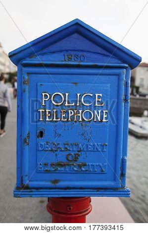 Vintage emergency call box in San Francisco.