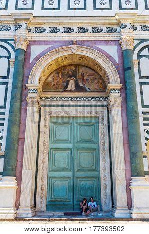 Portal Of The Cathedrale Di Santa Maria Del Fiore In Florence