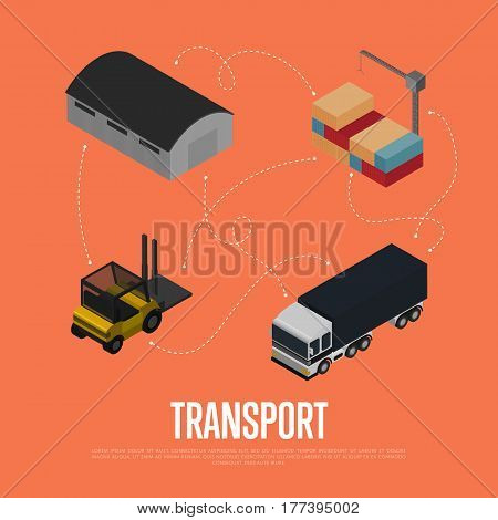 Commercial cargo transport isometric vector illustration. Forklift truck, freight car, warehouse terminal, cargo crane icons. Local delivery service and distribution business, freight shipping concept