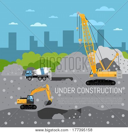 Under construction banner with construction machinery vector illustration. Road repair, maintenance and construction of pavement. Construction concept with crane, excavator and concrete mixer