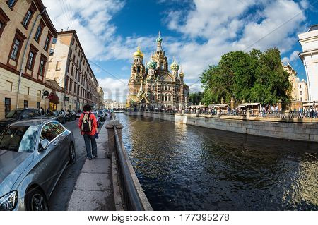 Church Of The Saviour On Spilled Blood , Griboedova Canal, Saint Petersburg, Russia.