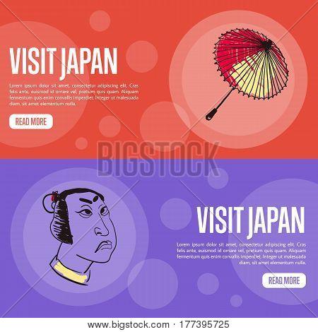 Visit Japan horizontal banners. Japanese umbrella and samurai face hand drawn vector illustrations.