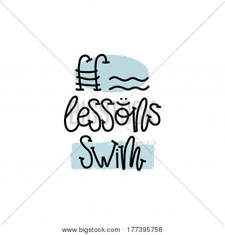 Education and Evaluation Concept. Hand writing logo lessons swim on white paper. View from above. Vector illustration