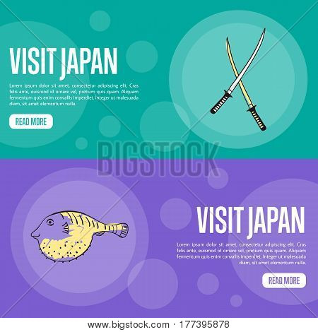 Visit Japan horizontal banners. Samurai swords and fugu fish hand drawn vector illustrations.