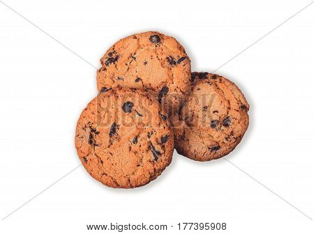 Three chocolate chip cookies isolated on white background. Three hazelnut cookies filled nougat with a clipping path.