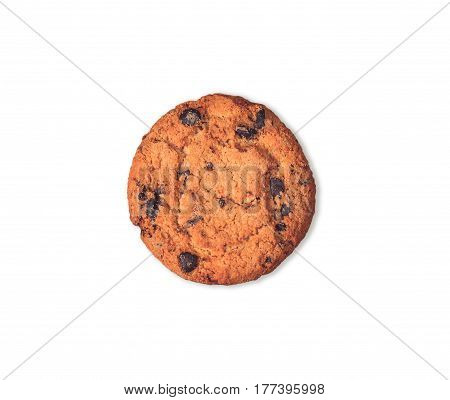 Chocolate chip cookie isolated on white background. A single hazelnut cookie filled nougat with a clipping path.