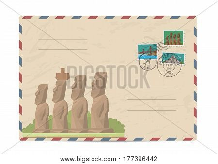 Moai statues from Easter island, Chile. Postal envelope with famous architectural composition, postage stamps and postmarks on white background vector illustration. Postal services.
