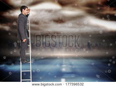 Digital composite of Businessman rising a ladder against a colorful background