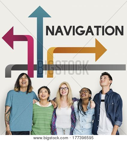 Group of people make a decision on their path