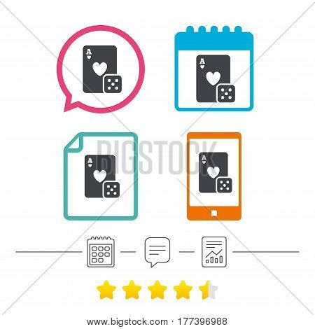 Casino sign icon. Playing card with dice symbol. Calendar, chat speech bubble and report linear icons. Star vote ranking. Vector