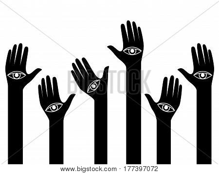 Human hands with eyes on the palms raised up conceptual back and white vector illustration