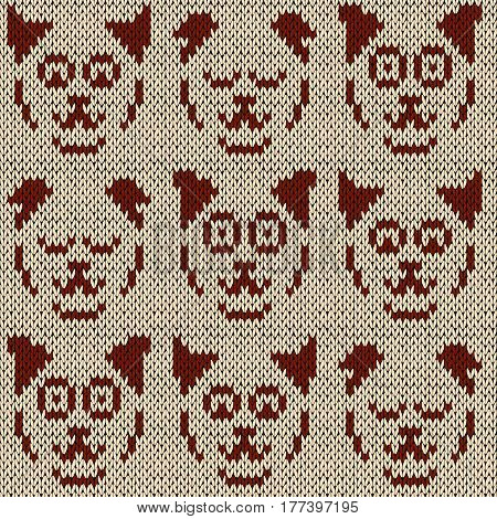 Set of nine amusing cat faces with various character knitting vector pattern in coffee and cocoa hues