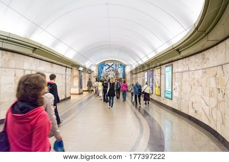 ST. PETERSBURG RUSSIA - JULY 12 2016: passengers go through a transition of the subway station