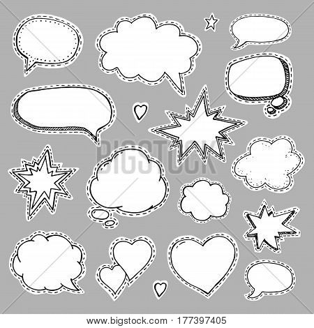 Hand drawn set of speech bubbles. Vector illustration for srickers
