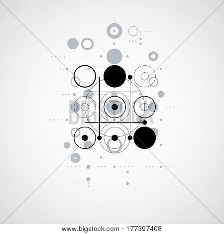Bauhaus retro art vector monochrome background made using grid and circles. Geometric graphic 1960s illustration can be used as booklet cover design.