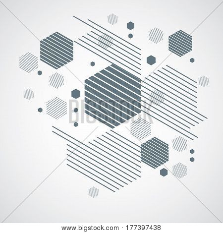 Bauhaus retro art vector monochrome background made using grid circles and rhombuses. Geometric graphic 1960s illustration can be used as booklet cover design. Technological pattern.