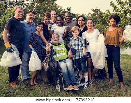 Group of diversity people volunteer charity project