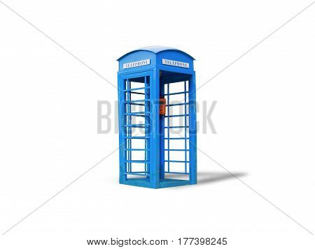 Blue telephone boxisolated on white background with clipping path.