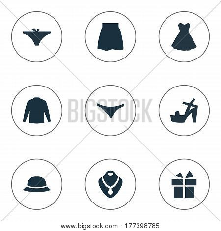 Vector Illustration Set Of Simple Garments Icons. Elements Panties, Skirt, Footwear And Other Synonyms Hat, Attire And Dress.
