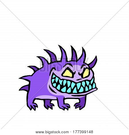 Small dog from hell. Cute monster growls. Vector illustration.