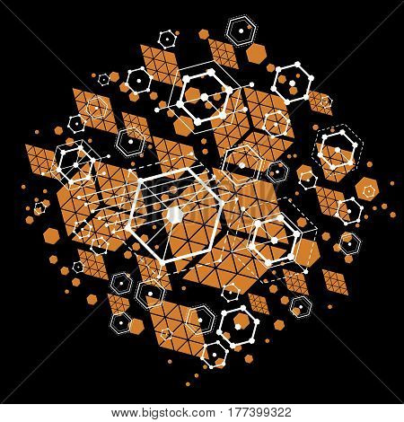Vector abstract background created in Bauhaus retro style. Modern geometric composition can be used as templates and layouts. Engineering technological backdrop made with honeycombs.
