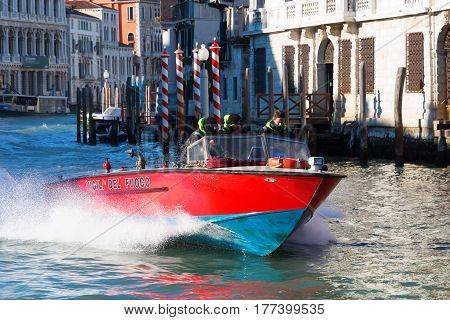Fire Department Boat In Venice, Italy