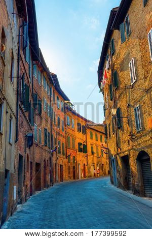 Picturesque Alley In Siena, Italy