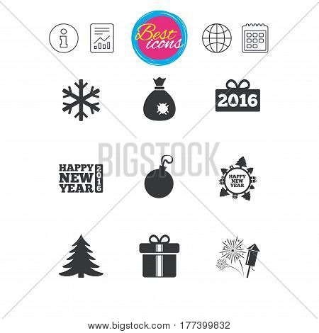 Information, report and calendar signs. Christmas, new year icons. Gift box, fireworks and snowflake signs. Santa bag, salut and decoration ball symbols. Classic simple flat web icons. Vector