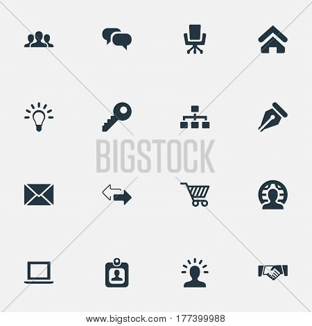 Vector Illustration Set Of Simple Commerce Icons. Elements Password, Bulb, Nib And Other Synonyms Pen, User And Computer.