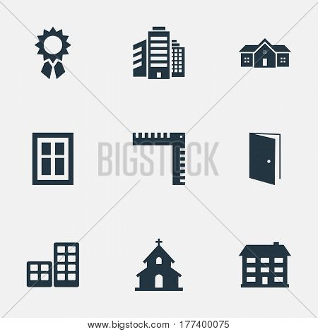 Vector Illustration Set Of Simple Architecture Icons. Elements Reward, Glazing, Popish And Other Synonyms Home, Superstructure And Ruler.