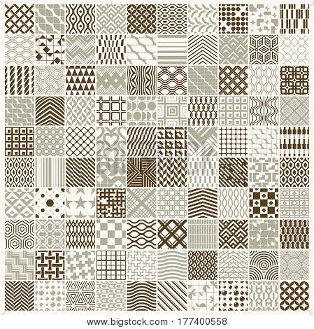 Vector ornamental seamless backdrops set geometric patterns collection. Ornate textures made in modern simple style.
