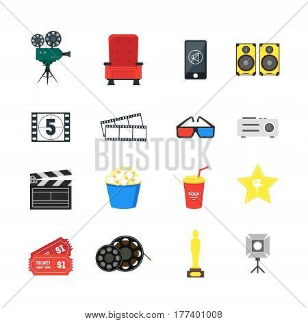 Cartoon Cinema Color Icons Set Movie Element for Web Design. Vector illustration