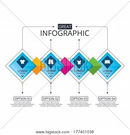 Infographic flowchart template. Business diagram with options. Clothes icons. T-shirt and pants with shorts signs. Swimming trunks symbol. Timeline steps. Vector