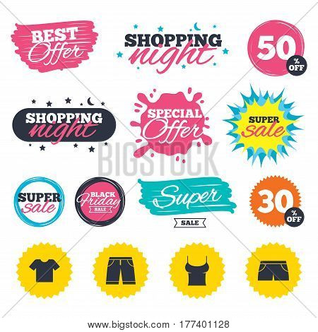 Sale shopping banners. Special offer splash. Clothes icons. T-shirt and bermuda shorts signs. Swimming trunks symbol. Web badges and stickers. Best offer. Vector