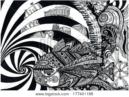 Fish that remembers everything. Black white hand drawn illustration. Doodle style