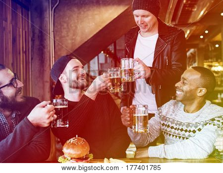 Gradient Color Style with Men Group Craft Beer Booze Brew Alcohol Celebrate