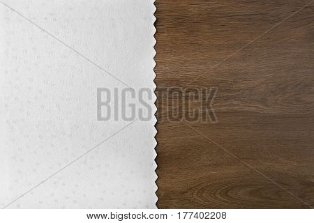 White tablecloth from left side white  wooden table.Tablecloth and wood background with empty place.