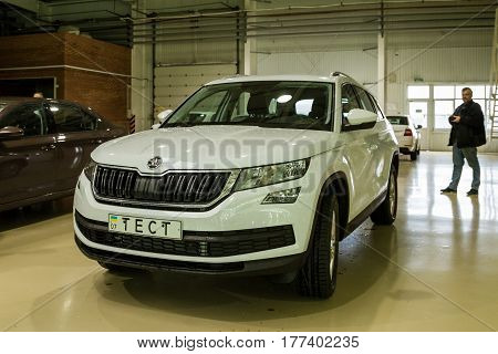Solomonovo Ukraine - March 9 2017: Today was launched a serial production of the new model Kodiaq from ŠKODA in the Transcarpathian plant of the Czech automaker in Slononovo.