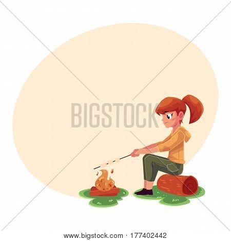 Teenage Caucasian girl frying marshmallow on fire, camping, hiking concept, cartoon vector illustration with place for text. Girl scout, tourist frying marshmallow sitting at camping fire