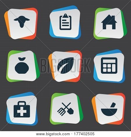 Vector Illustration Set Of Simple Agricultural Icons. Elements Ranch Home, Buffalo, Medicament And Other Synonyms Horticulture, Drug And Aid.
