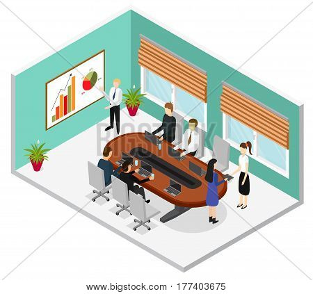 Interior Office Conference Room Isometric View Cabinet for Business Presentation and Work. Vector illustration