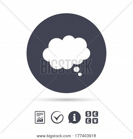 Comic speech bubble sign icon. Chat think symbol. Report document, information and check tick icons. Currency exchange. Vector