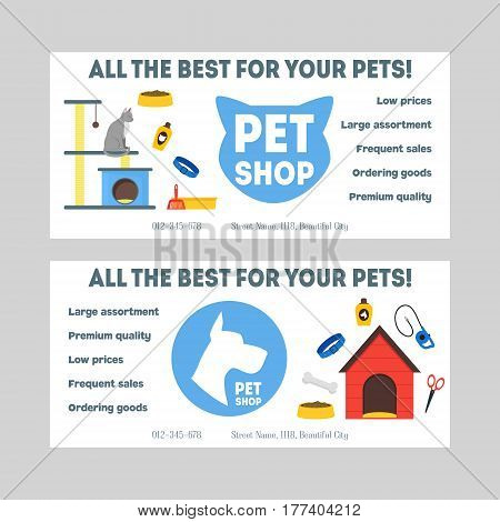 Cartoon Pet Shop Banner or Flyer Set Accessories and Food. Vector illustration