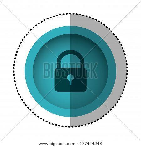 blue round symbol padlock closed icon, vector illustration design