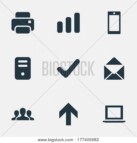 Vector Illustration Set Of Simple Practice Icons. Elements Smartphone, Envelope, Statistics And Other Synonyms Chart, Cellphone And Arrow.