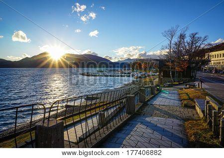 Autumn Scene Of Chuzenji Lake In Nikko, Japan