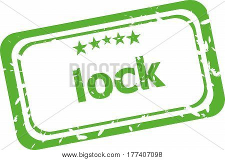 Lock Grunge Rubber Stamp Isolated On White Background