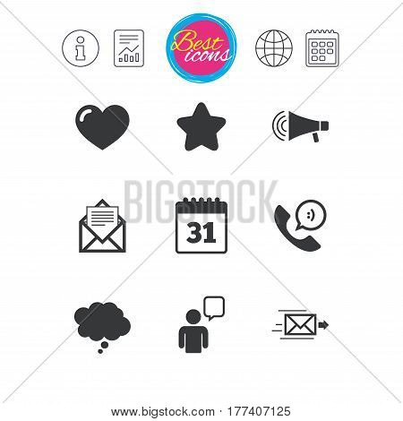 Information, report and calendar signs. Mail, contact icons. Favorite, like and calendar signs. E-mail, chat message and phone call symbols. Classic simple flat web icons. Vector