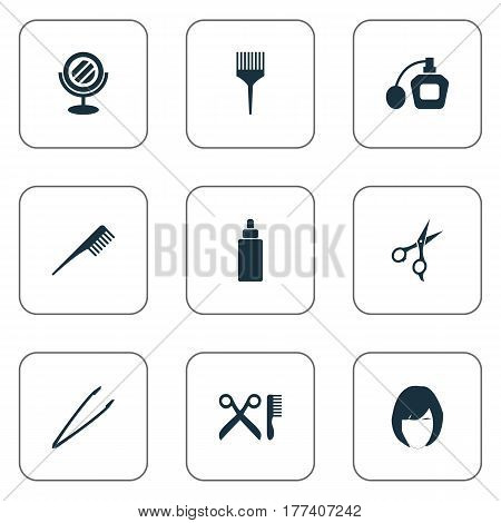 Vector Illustration Set Of Simple Salon Icons. Elements Pincers, Perfume, Reflection And Other Synonyms Sprayer, Fragrance And Tweezers.