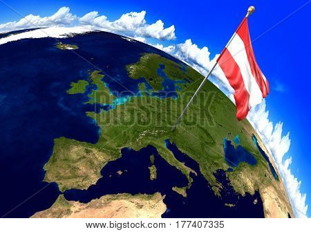 Austria national flag marking the country location on world map. 3D rendering, parts of this image furnished by NASA